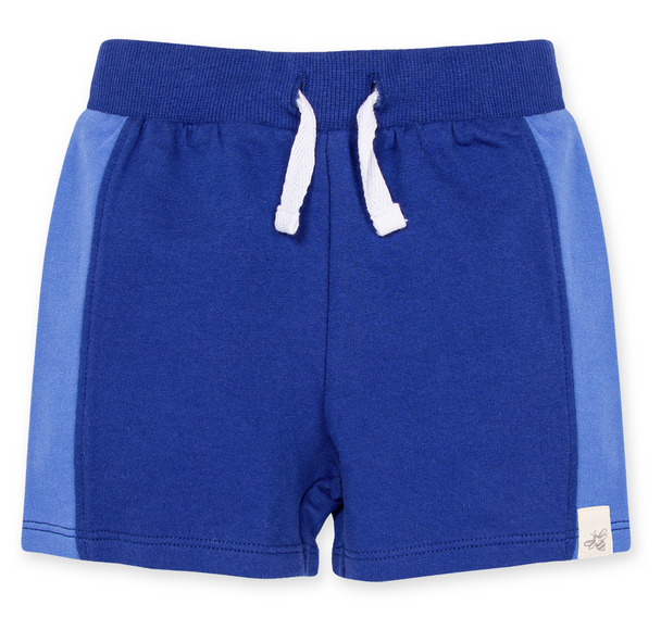 French Terry Colorblocked Shorts-Macaw