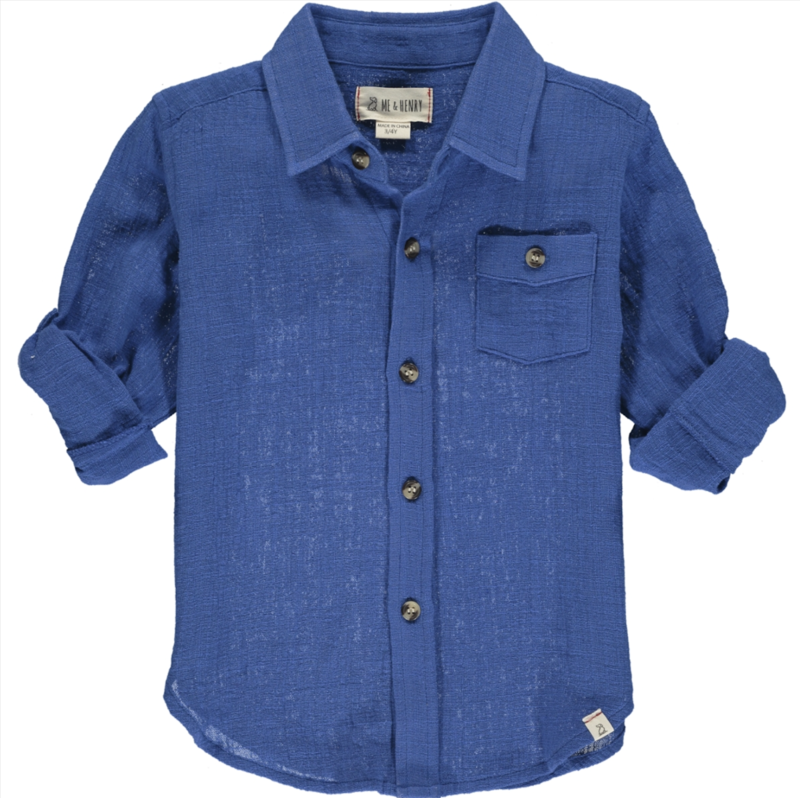 Merchant l/s gauze shirt blue