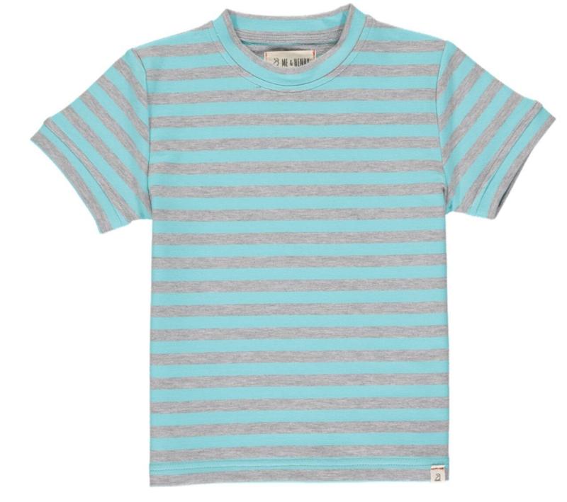 Camber tee aqua/grey stripe