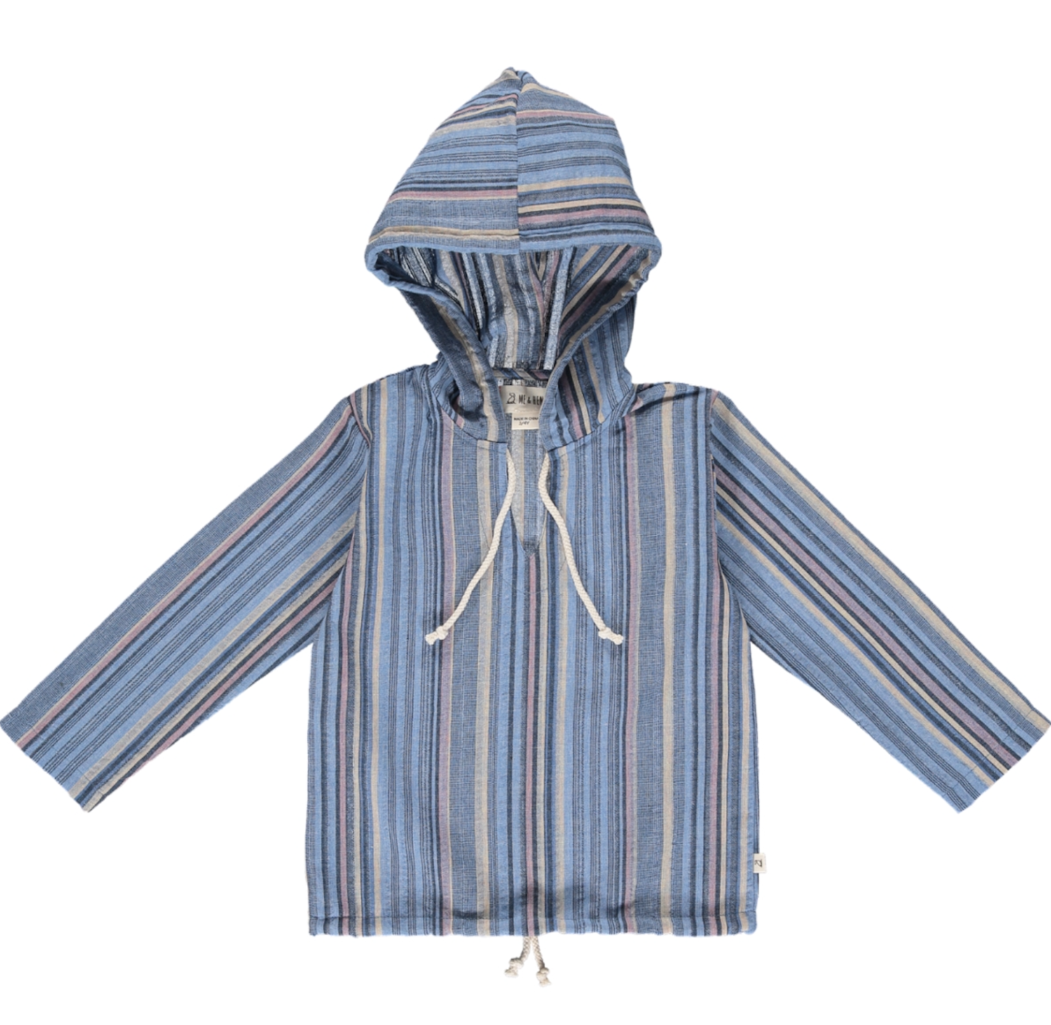 St. Ives gauze hooded top blue multi stripes