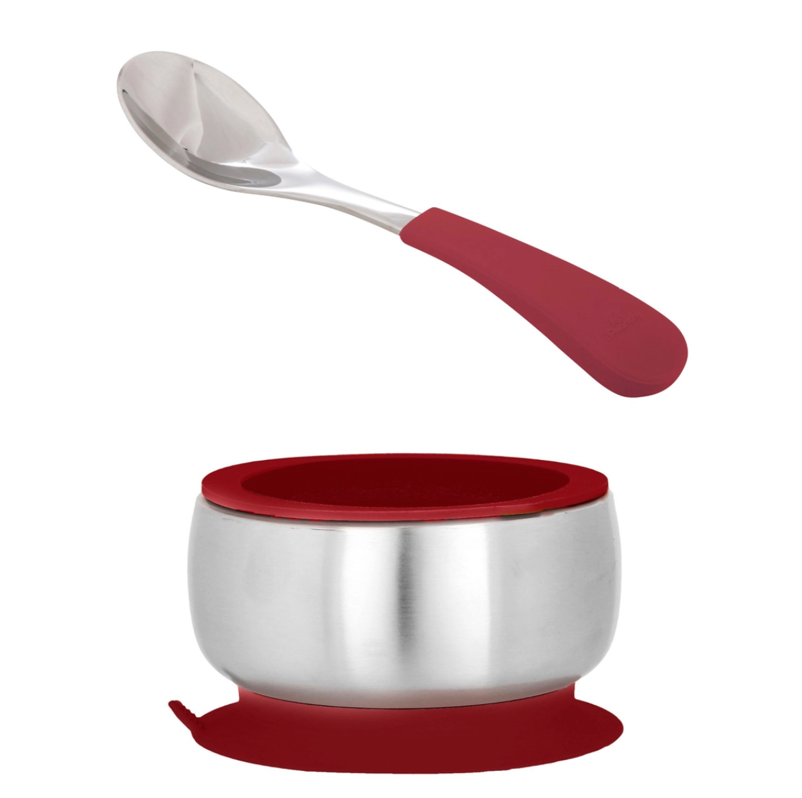 stainless steel suction bowl + airtight lid set -magenta