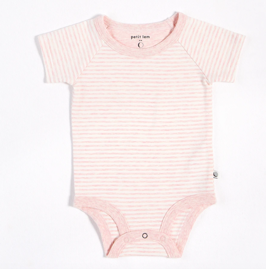 Organic Cotton L/S Body Suit  - heather pink 3mos