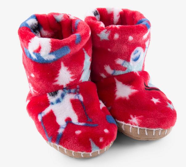 mountain monsters fleece slippers lg