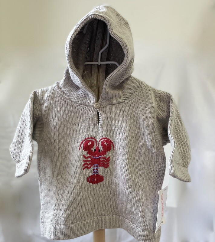 Claver Zip Up Hooded Sweater -6 mos Gray Cotton