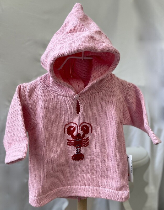 Claver Zip up hooded sweater - 6mos pink cotton
