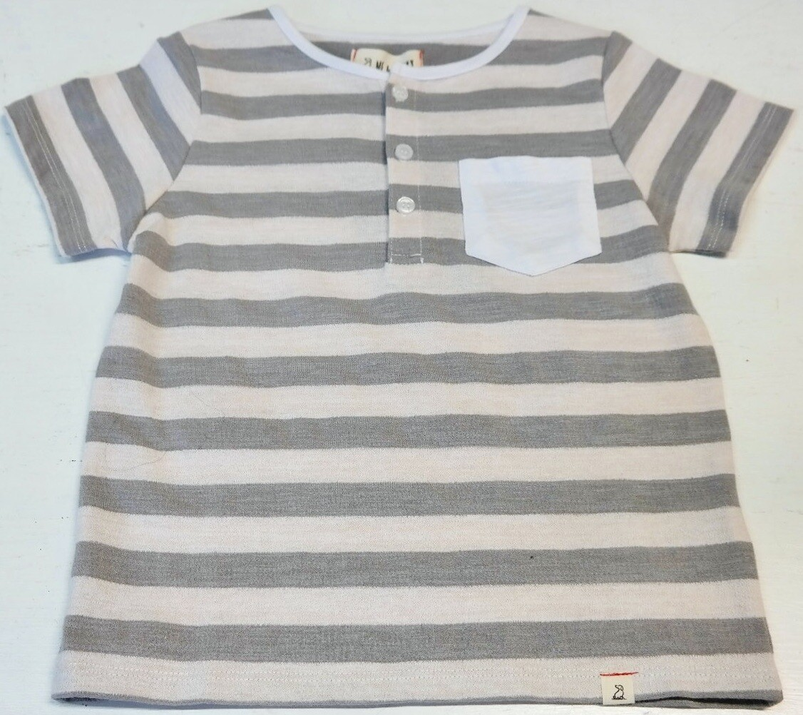 wide stripe pocket tee - 3/4