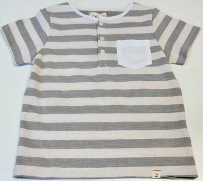 wide stripe pocket tee - 3/4