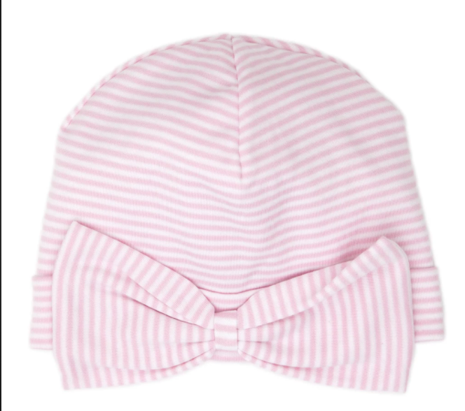 stripes hat with bow pink