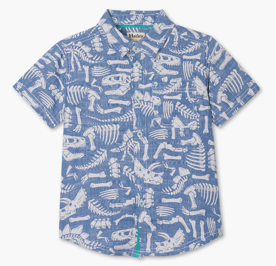 Dino Fossils Short Sleeve Button Down Shirt