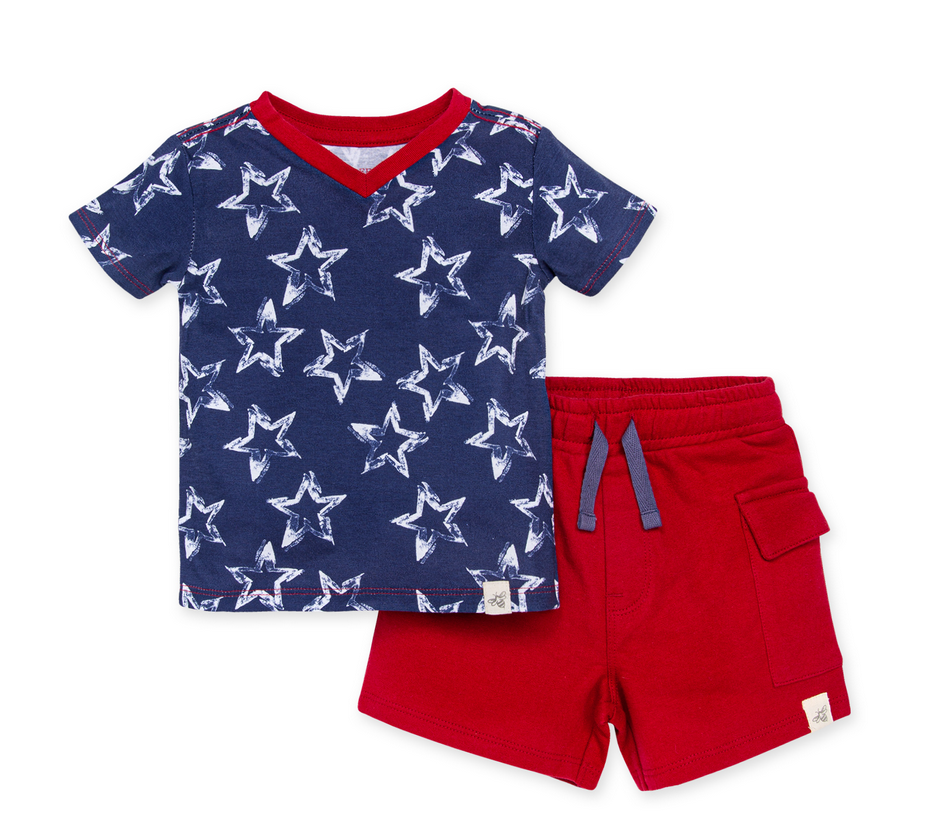 Painted Stars Tee & Cargo Short Set