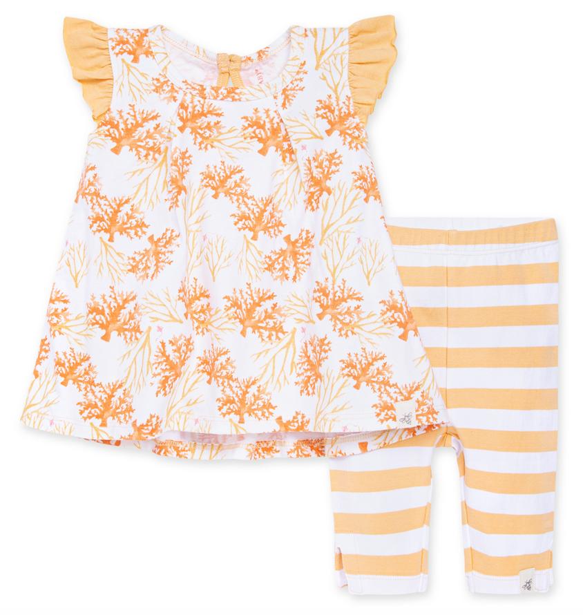 Watercolor Coral Tunic and Capri Legging Set