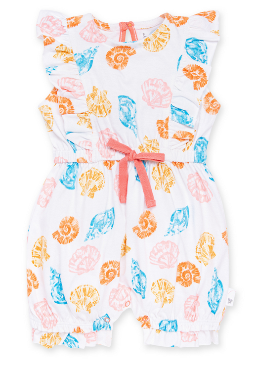 Watercolor Seashells Bubble Romper