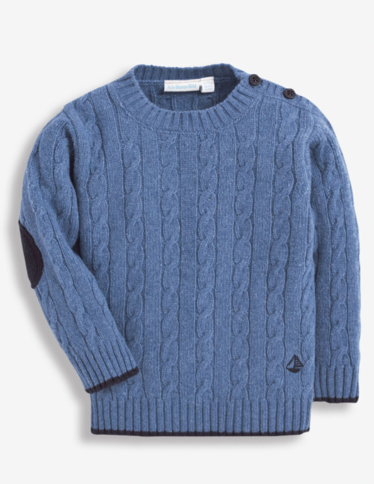 Cable Knit Sweater-Denim