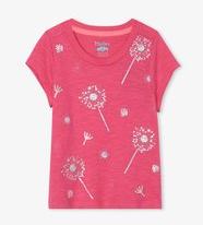Precious Dandelion Graphic Tee-Carmine Rose