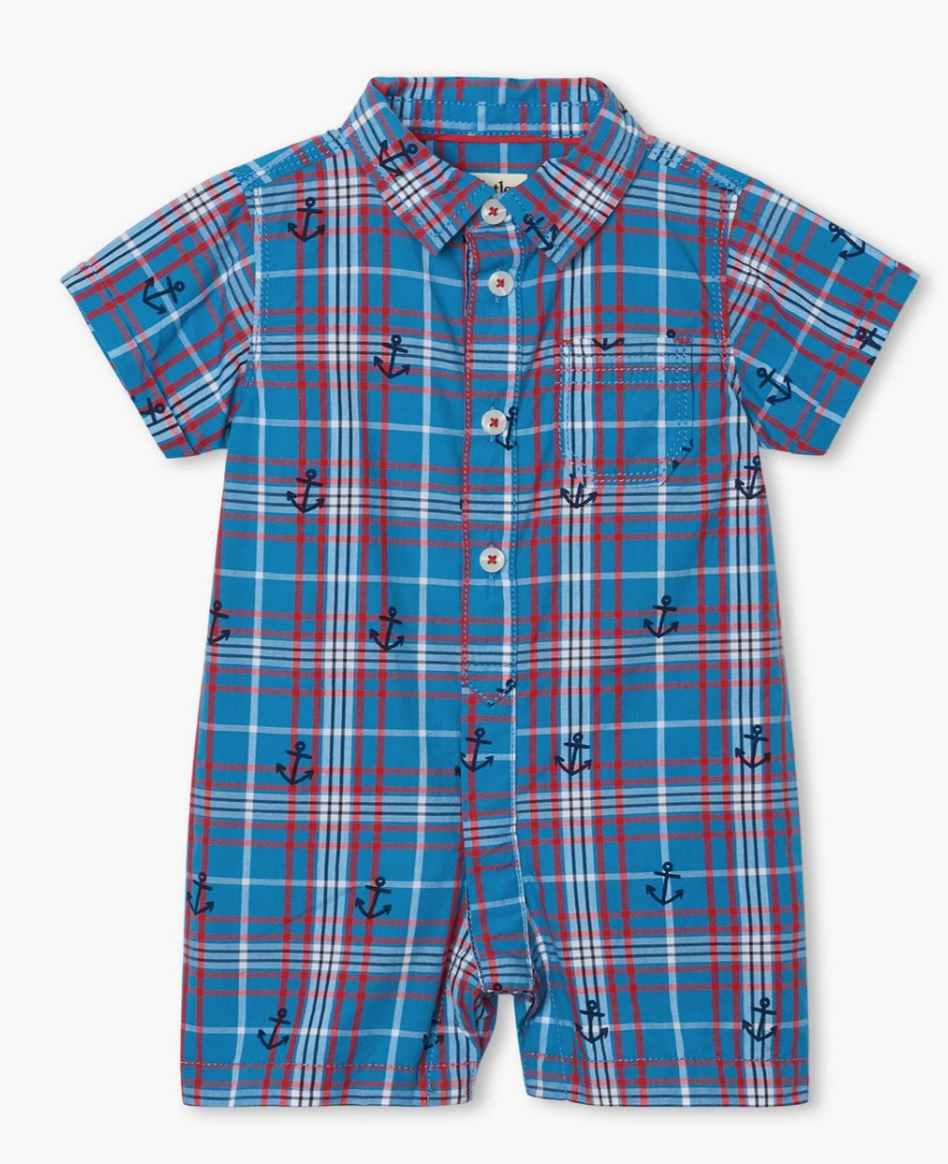 nautical plaid baby woven romper
