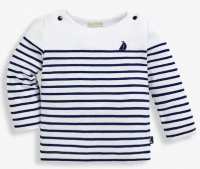 Breton Top white navy stripe