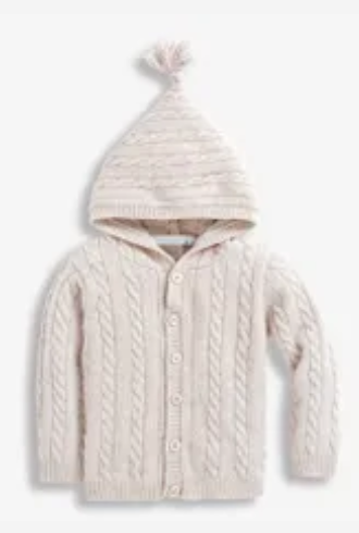Cable knit hooded cardigan natural