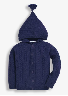 Cable knit hooded cardigan navy