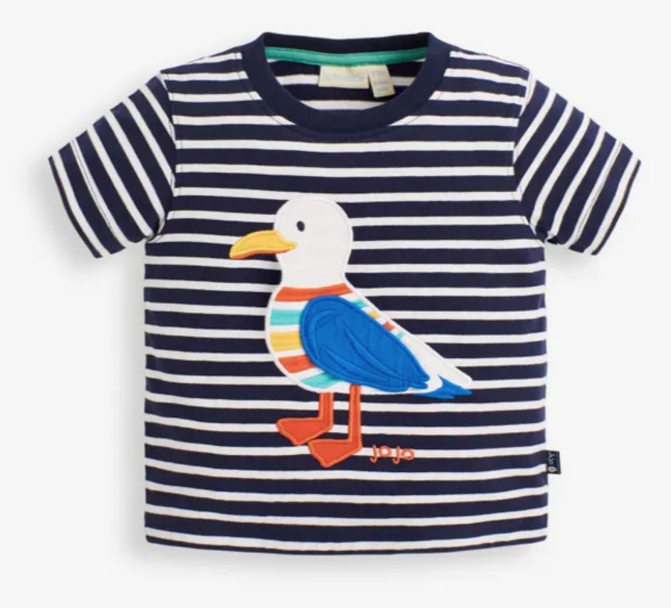 Seagull applique t shirt navy white stripe