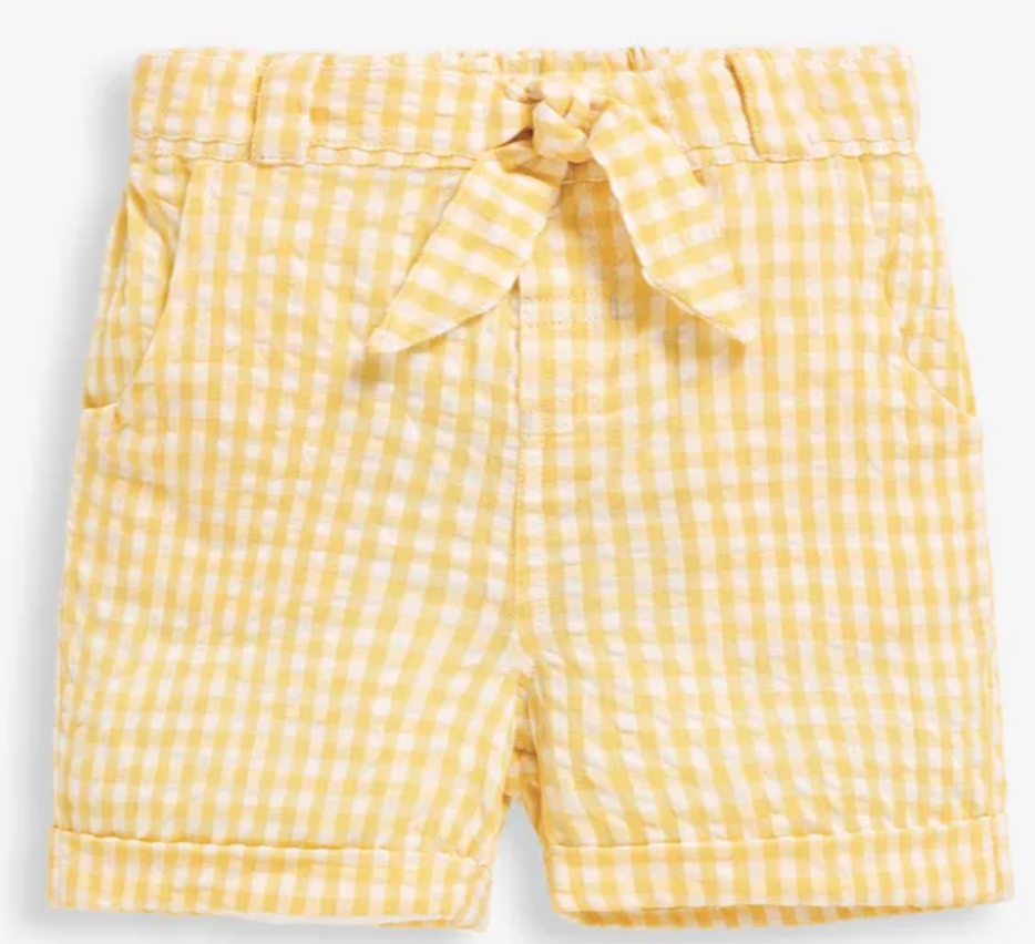 Pretty gingham seersucker shorts yellow