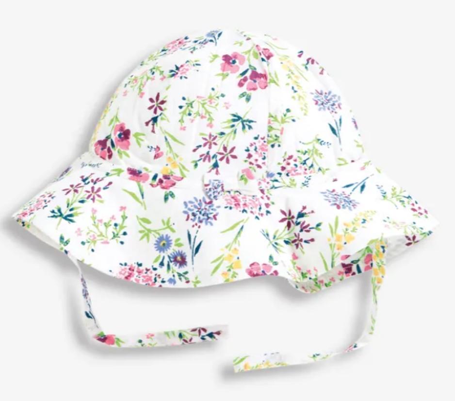 Floral floppy sunhat white