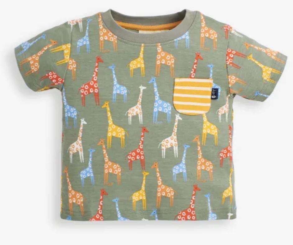 giraffe print t shirt khaki