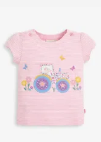 Pretty tractor t shirt pale pink