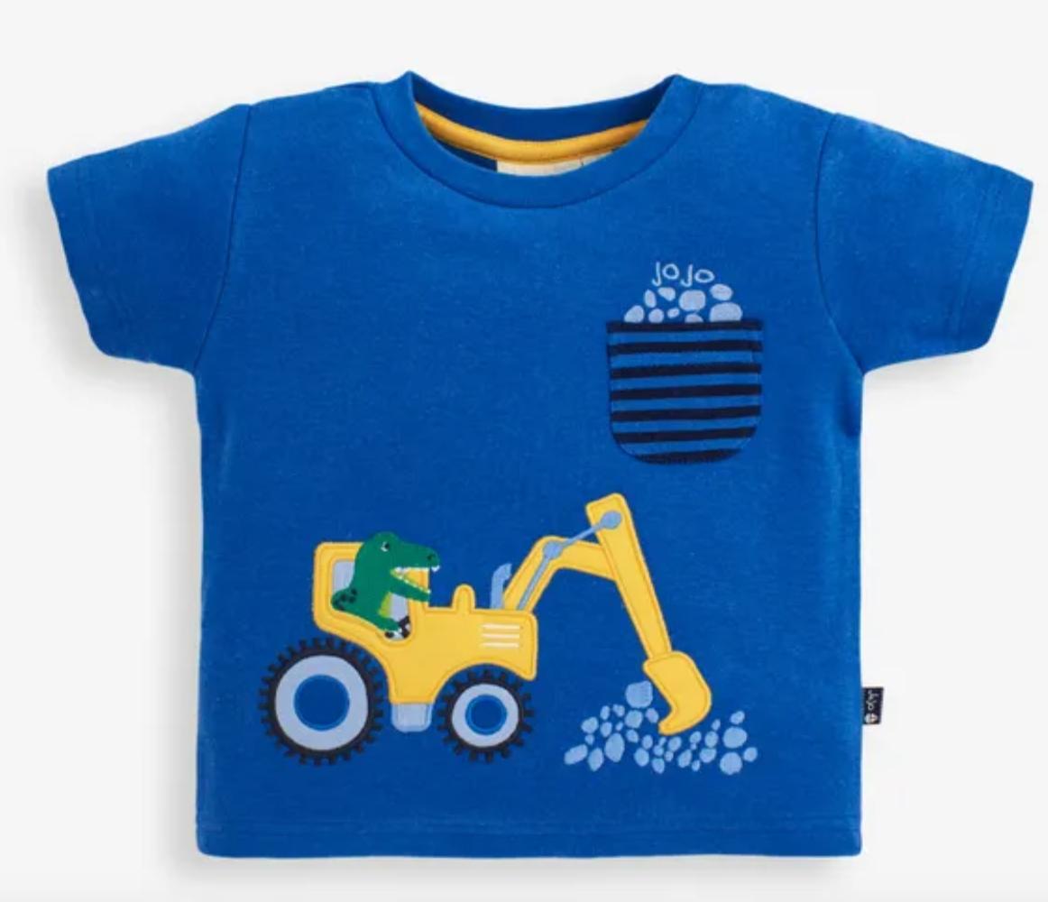 T-Rex & Digger Applique T-shirt cobalt