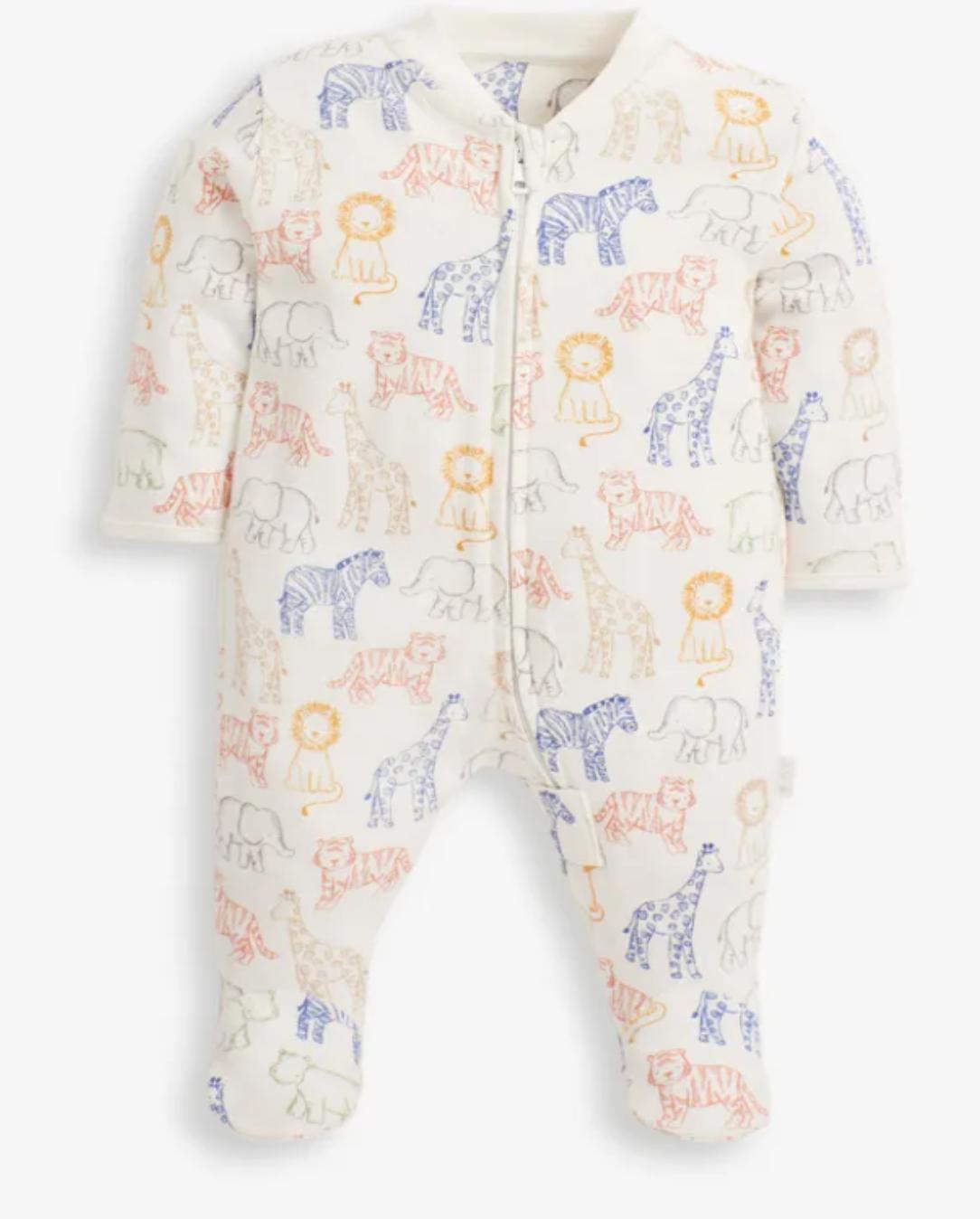 Safari Print Zip Sleepsuit
