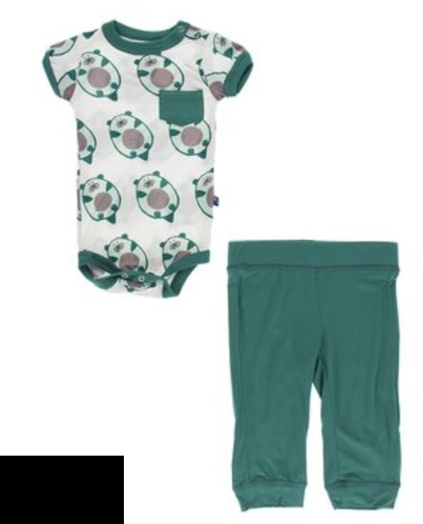 Natural Ottercado s/s One piece & Pant Set