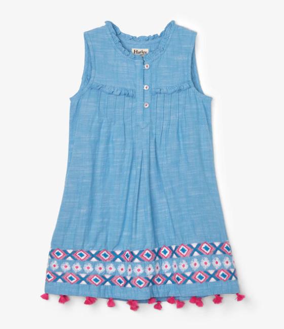 Chambray Floral Pin Tuck Dress