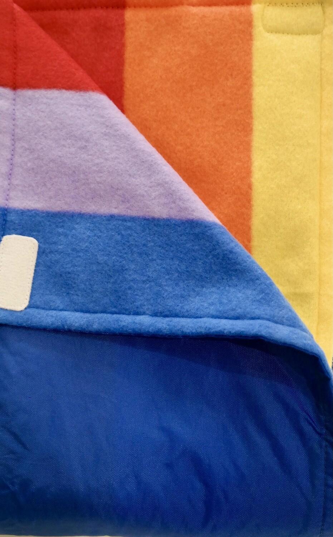 Maine River Otter Blanket 73C Royal/ Primary Rainbow Stripe