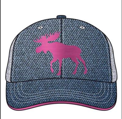 Denim moose bball cap pink