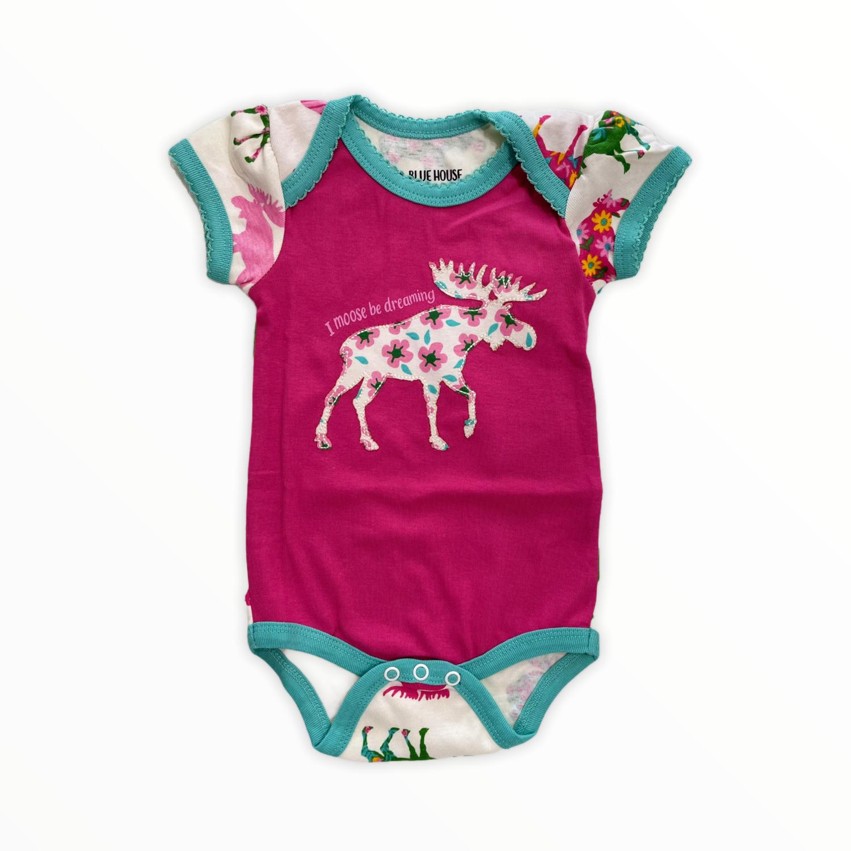 Patterned moose baby bodysuit