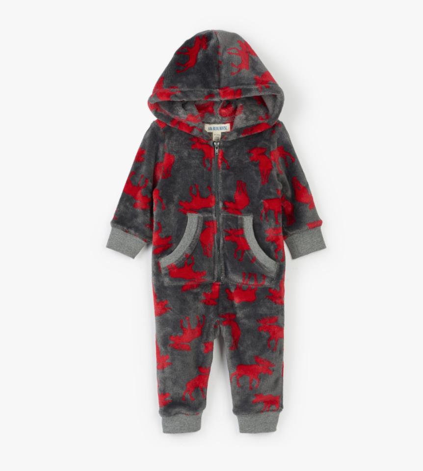 moose on charcoal baby hooded fleece jumpsuit