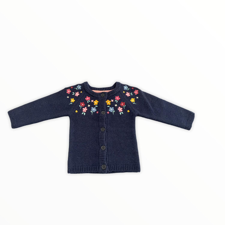 Jojo Blue Floral Embroidered Cardigan