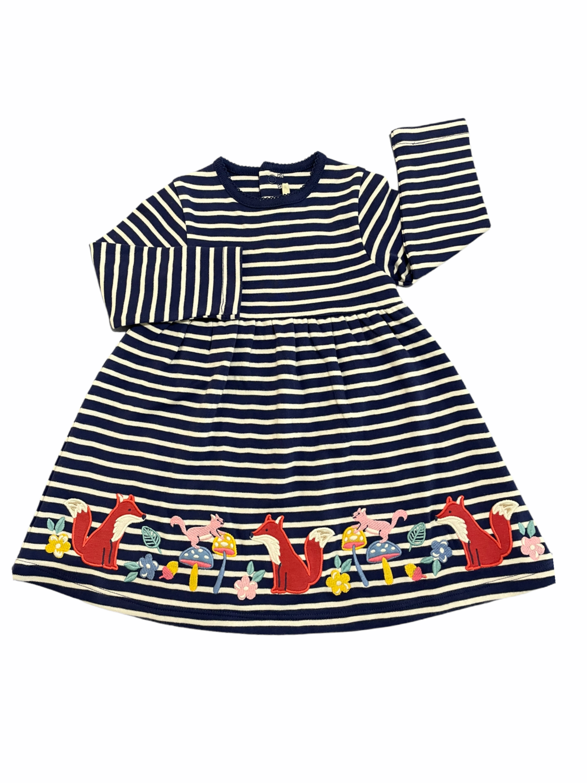 Jojo Navy Striped Foxy Garden Applique Dress