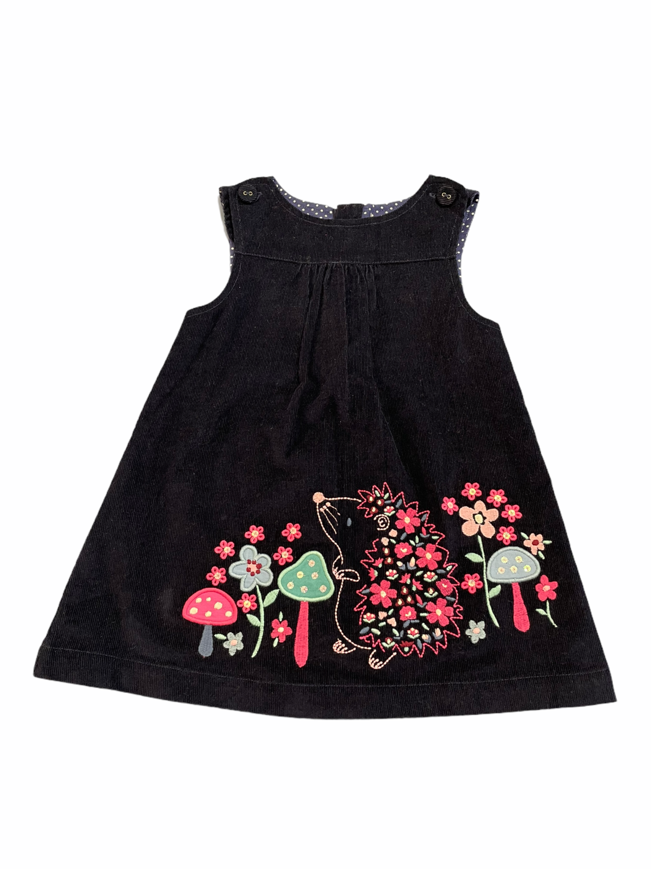 Jojo Pink & Blue Floral Corduroy Dress