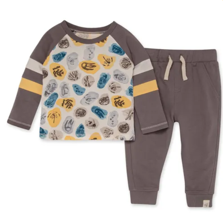 I Dig It French Terry Set-Charcoal