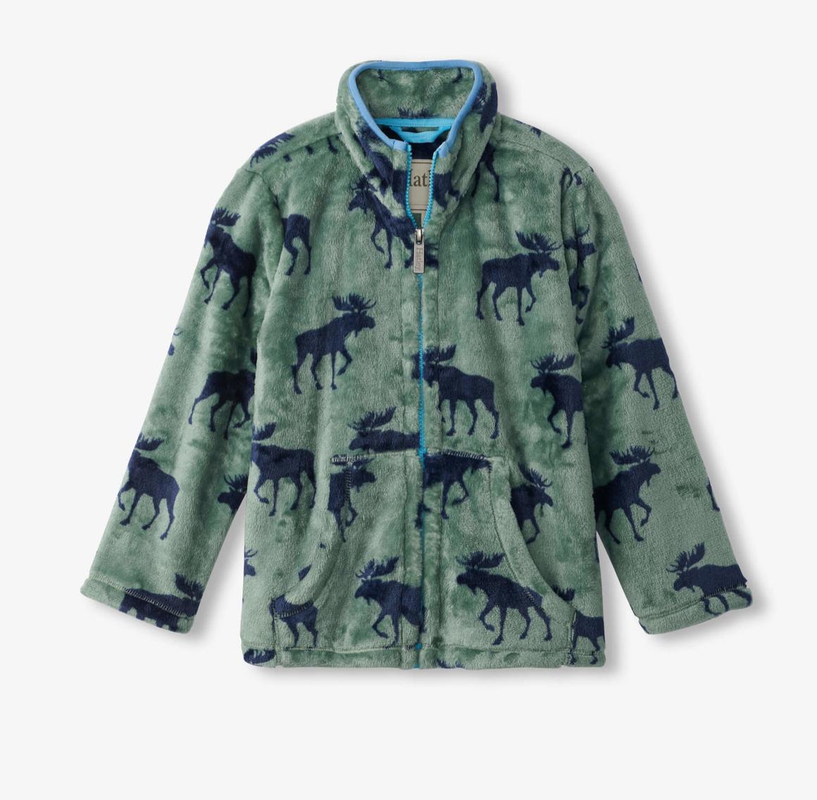 Forest Moose Fuzzy Fleece Zip up