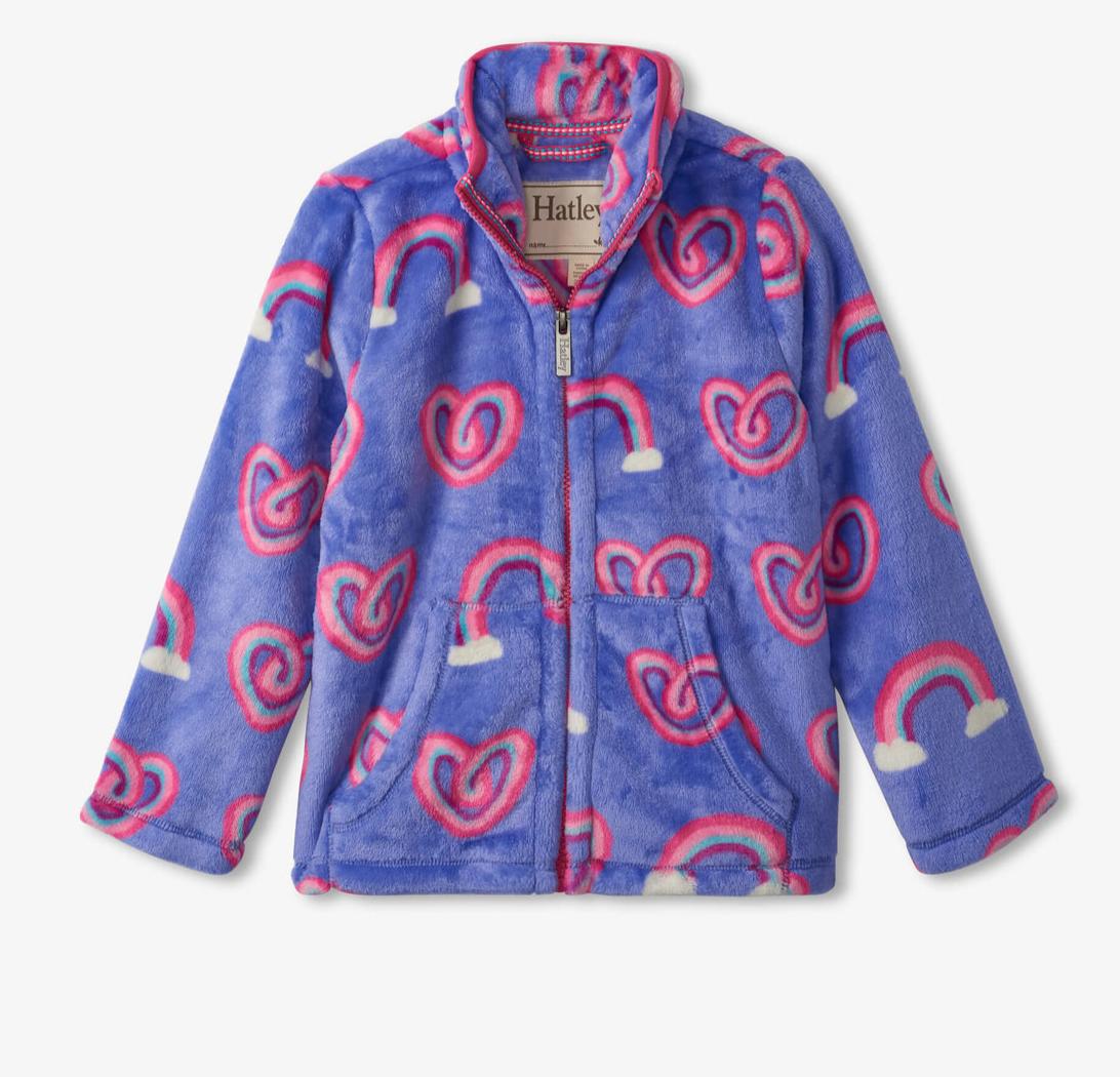 Twisty Rainbow Hearts Fleece Zip up