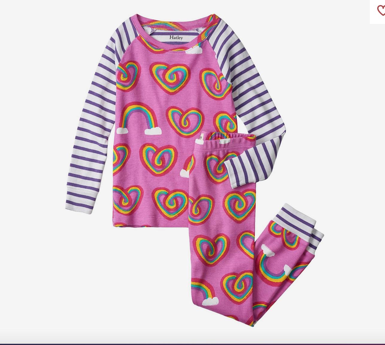 Twisty Rainbow Hearts Organic Pajamas