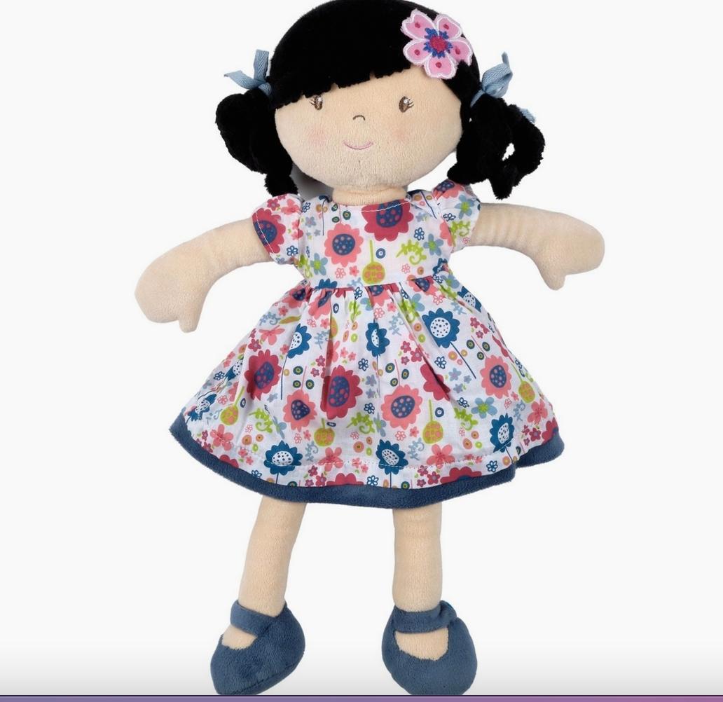Tikiri Lilac Black Hair With Floral Dress Doll