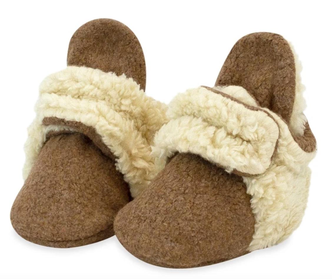 Zutano Cozie Fleece Furry Bootie-Mocha Heather