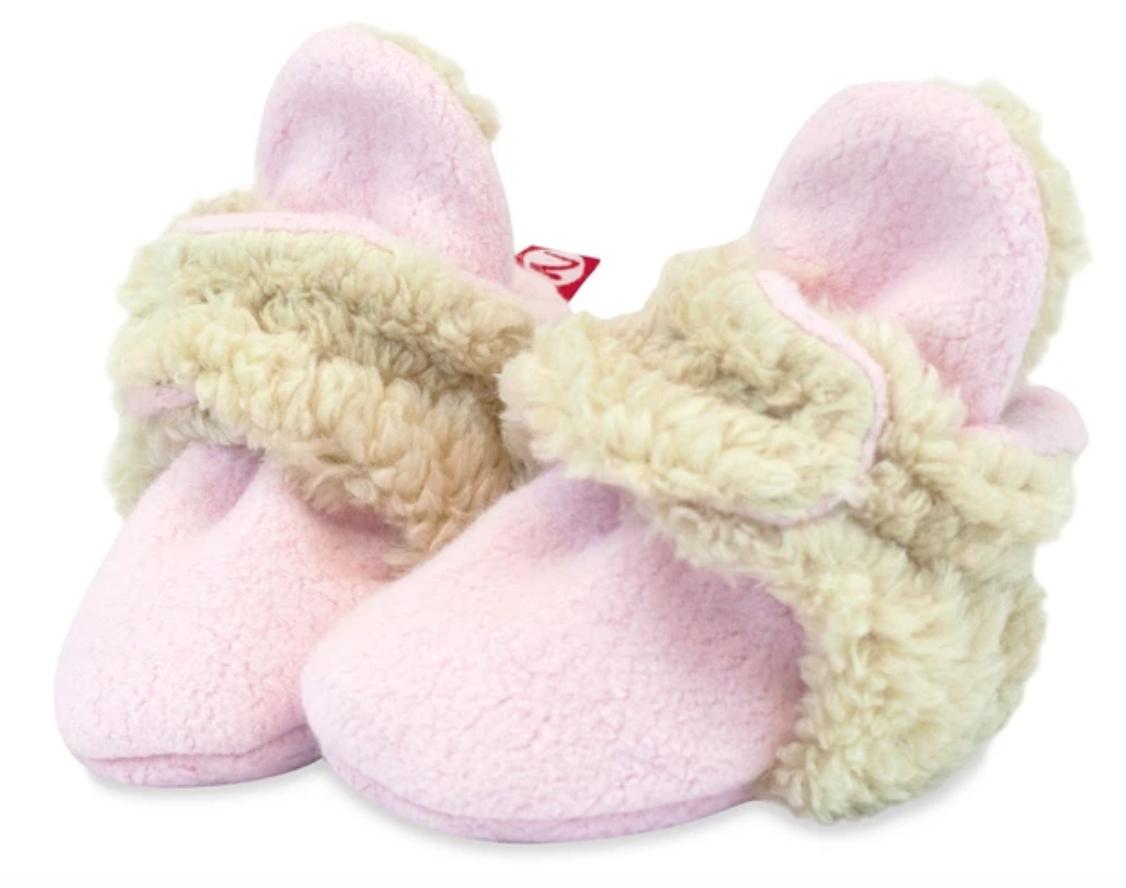 Zutano Cozie Fleece Furry Lined  Bootie-Baby Pink