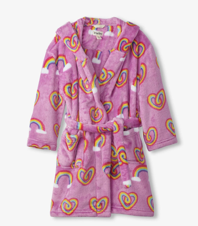 Twisty rainbow hearts fleece robe