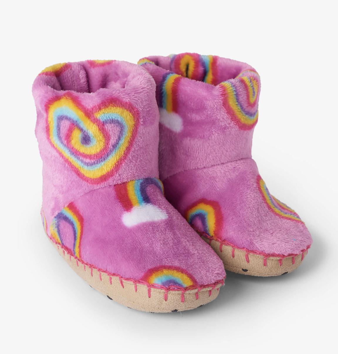 Twisty rainbow hearts fleece slippers