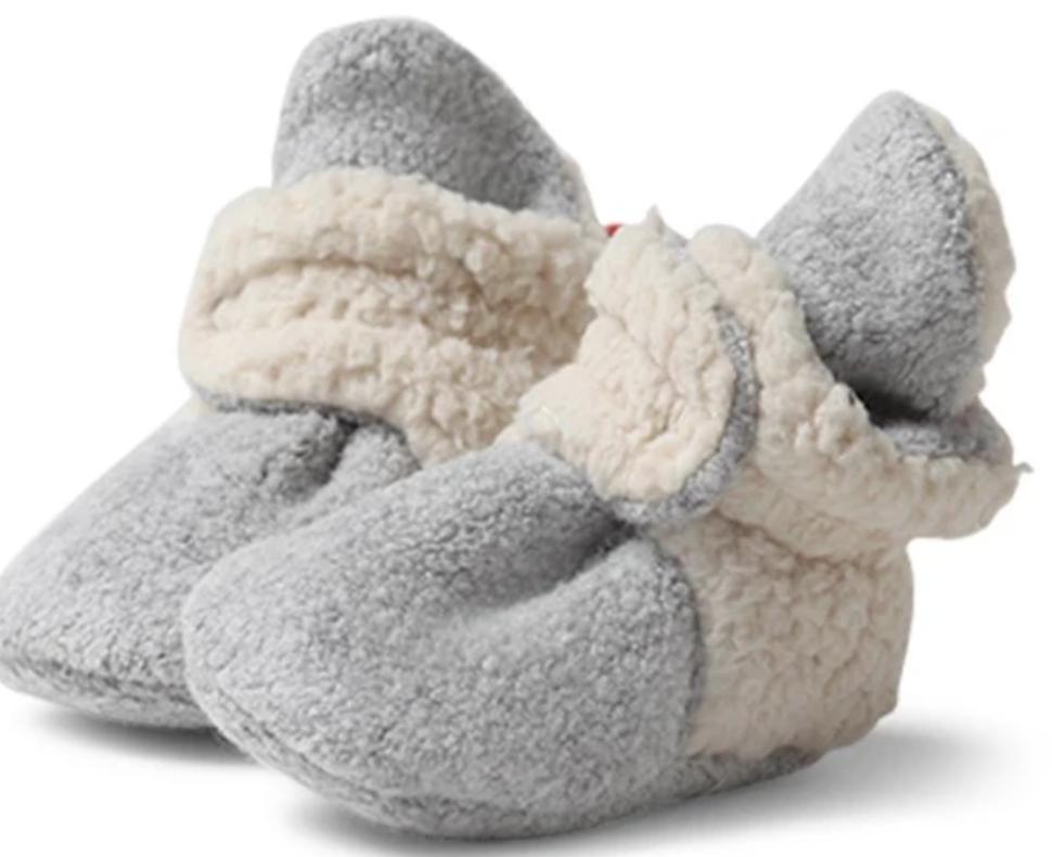 Zutano Cozie Fleece Furry Bootie-Gray Heather