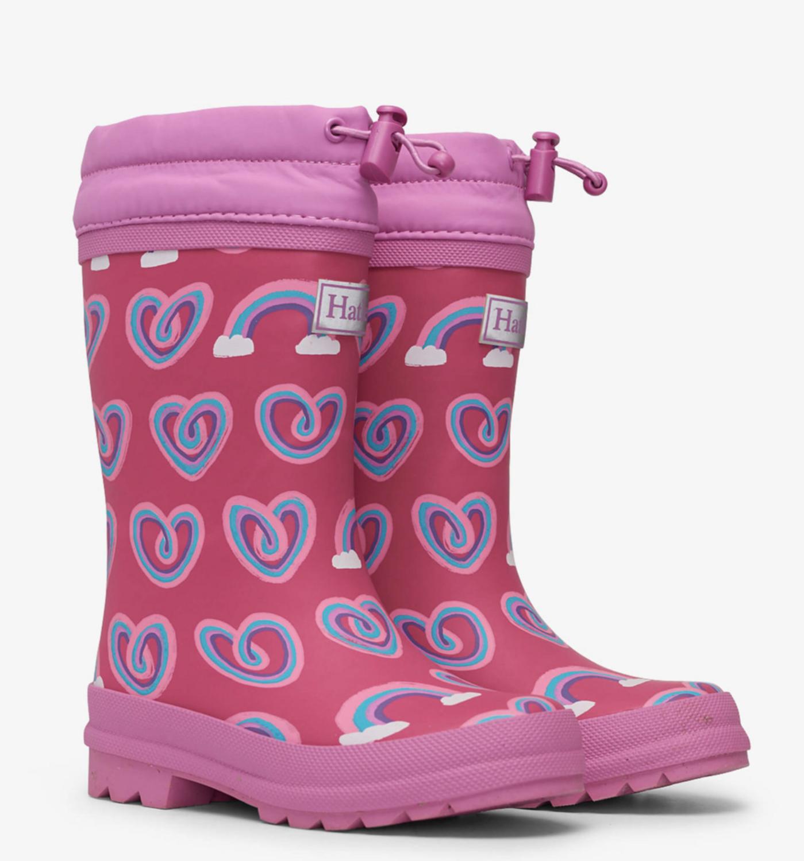 Twisty rainbow hearts sherpa lined rain boots
