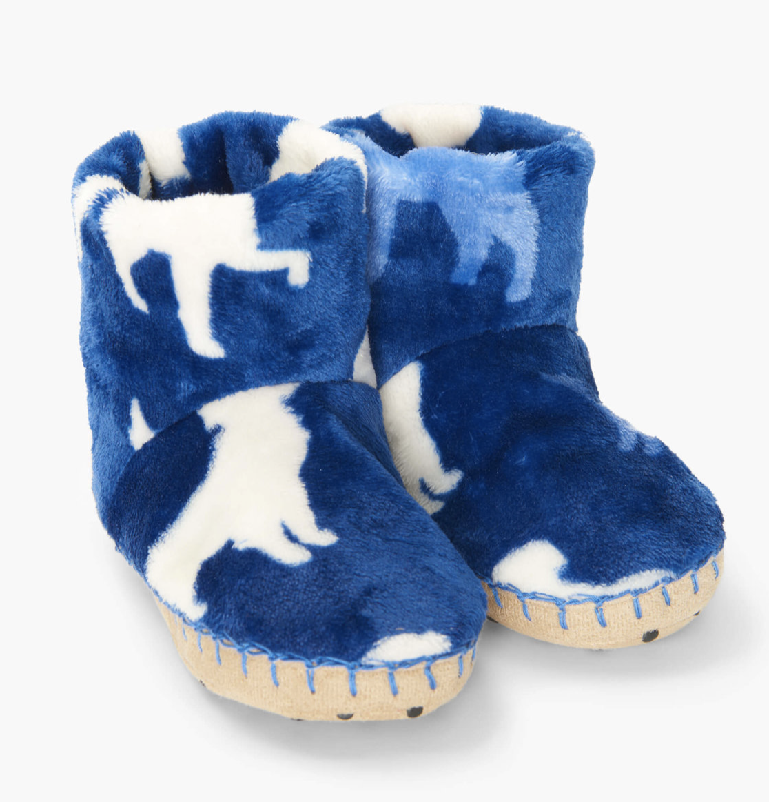 Silhouette pups fleece slippers